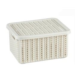 Коробка ВЯЗАНИЕ 1,5л с крышкой белый Ротанг