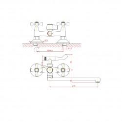 Смеситель для ванны универсальный Mitte OLDIE 00-00296 с душевым набором хром