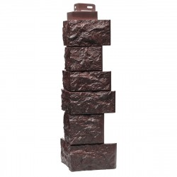 Угол внешний для фасадной панели FineBer, камень дикий, цвет коричневый, 0.47 м