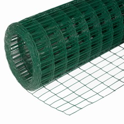Сетка сварная с ПВХ-покрытием, размер ячейки 75 х 100 мм, размер сетки 1,8 х 15 м (27м2, 1 рулон)