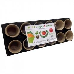 Набор для рассады с торфяными горшками, 9 помидоров и 1 огурец
