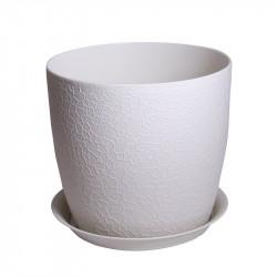 Горшок для цветов ВЕРОНА D140мм с подставкой, белый ротанг