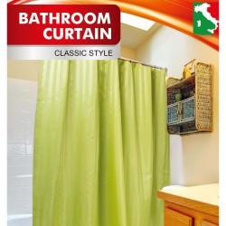 """Шторка ЖАККАРД для ванной  """"Полоска"""" зеленый + набор колец в комплекте 180*200"""