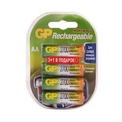Батарейка аккумуляторная АА Ni-MH, 1,2В, 2700мАч, GP, 4шт (3+1 бесплатно)