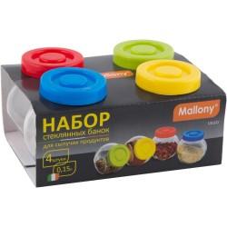 Банки для сыпучих продуктов 4шт 0,15л VASO Mallony стекло с пласт.крышками Mallony 003606