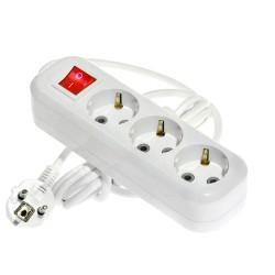 Удлинитель бытовой 3,0м 3гн с/з 250В 16А с выключателем белый LUX У3-ЕВК-03-б