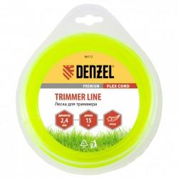 Леска для триммера 2.4 (15м) звездочка FLEX CORD, Denzel 96112