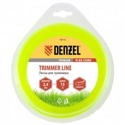 Леска для триммера 2.4 (15м) квадрат FLEX CORD, Denzel 96116
