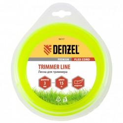 Леска для триммера 3,0 (15м) квадрат FLEX CORD, Denzel 96117