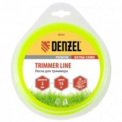 Леска для триммера 2.0 (15м) квадрат двухкомпонентная EXTRA CORD, Denzel 96124