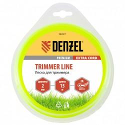 Леска для триммера 2.0 (15м) круглая двухкомпонентная EXTRA CORD, Denzel 96127