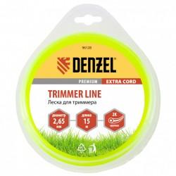 Леска для триммера 2.65 (15м) круглая двухкомпонентная EXTRA CORD, Denzel 96128