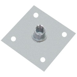 Пластина опорная облегченная 60х60х2,0мм с гайкой М10 оцинкованная - накл.