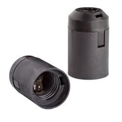 Патрон E27 термост.пластик черный, подвесной гладкий, REV, 24534 6