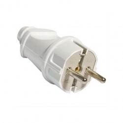 Вилка б/з 16А 250В прямой вывод проводника ABS-пластик, белая