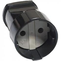 Штепсельная розетка б/з 16А 250В ABS-пластик, черная