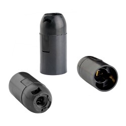 Патрон E14 термост.пластик черный, подвесной гладкий, REV, 24523 0