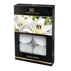 Свеча ароматическая чайная малая 6шт Белая лилия Kukina Raffinata 202803