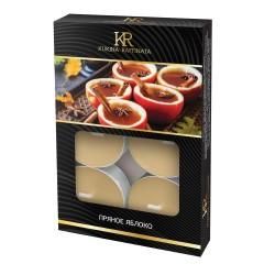 Свеча ароматическая чайная малая 6шт Пряное яблоко Kukina Raffinata 202839