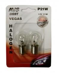 Лампа автомобильная AVS Vegas 12V. P21W 2шт (BA15S) A78475S