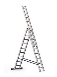 Лестница 3 секции по  9 ступеней, макс. высота 5,88м, 150кг Алюмет 5309