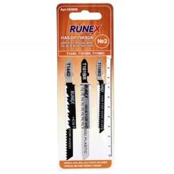 Набор пилок для лобзика 3шт по дереву и пластику №2 RUNEX 555808