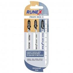 Набор пилок для лобзика 3шт по дереву и металлу T101B, T101AO, T118AF PROFI MIX-3 Runex 555815