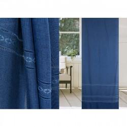 Портьера Берта 103804 2х2,7м синий на крючках