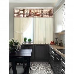 Комплект штор для кухни Лондон 101553 1,4*1,8м/2шт/ 2,5*0,45/ 2подхвата