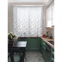 Комплект штор для кухни Кубик рубик 102412 3*1,7м серый/белый
