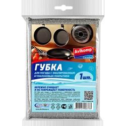Губка для посуды с эмалированным и тефлоновым покрытием, 1шт AVIKOMP 86733