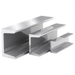 Швеллер алюминиевый, 20 х 20 х 20 х 1,5 мм, длина 1 м, цвет серебро