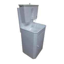 Умывальник дачный  белый (метал. тумба, пласт. бак 17 л, пласт.мойка) с водонагревателем