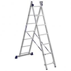 Лестница 2 секции по  7 ступеней, макс. высота 3,08м, 150кг Алюмет 5207