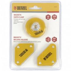"""Набор из 2 магнитных сварочных фиксаторов и магнитной клеммы """"масса""""// Denzel 97557"""