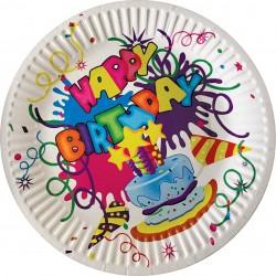 "Набор бумажных тарелок 6шт ""Happy Birthday"" Волшебная страна 23см 007149"