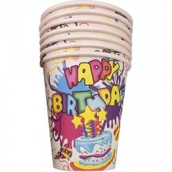 """Набор бумажных стаканов 6шт """"Happy Birthday"""" Волшебная страна 007147"""