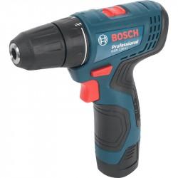 Дрель аккумуляторная Bosch GSR 120 Li, 12В, 30Нм, 2А/ч li-lon, 10мм, 0,8кг, 2 акк, кейс, 06019G8020