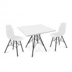 Стол со стульями Sheffilton SHT-DS40 белый/черный муар
