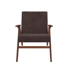 Кресло классическое Комфорт Вест 80х64см орех, ткань коричневый