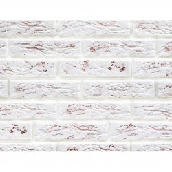 Камень интерьерный гипсовый под кирпич с красными вкраплениями 210*55 Белый 0317