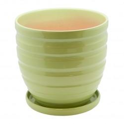 Керамический горшок с подставкой, 4,7л., д210 ш210 в200, зеленый (глянец)