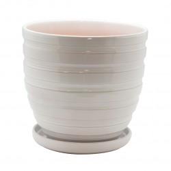 Керамический горшок с подставкой, 4,7л., д210 ш210 в200, белый (глянец)