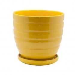 Керамический горшок с подставкой, 4,7л., д210 ш210 в200, желтый (глянец)