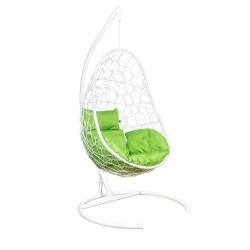 Подвесное кресло Leset ажур, каркас белый, подушка зеленое яблоко