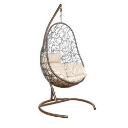 Подвесное кресло Leset ажур, каркас коричневый, подушка бежевая