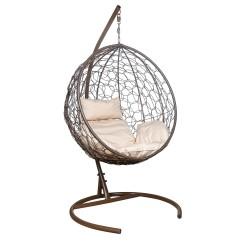 Подвесное кресло Leset луна, каркас коричневый, подушка бежевая
