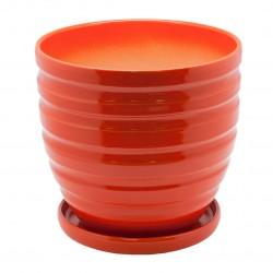 Керамический горшок с подставкой, 4,7л., д210 ш210 в200, рыжий (глянец)