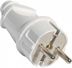 Вилка электрическая с/з 16А 250В белая Универсал A101