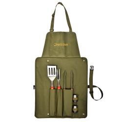 Набор для барбекю BOYSCOUT /вилка, лопатка, щипцы, солонка, перечница, сумка-фартук/ 61320